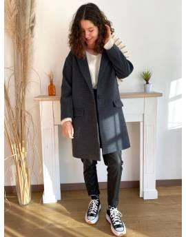 Manteau droit gris