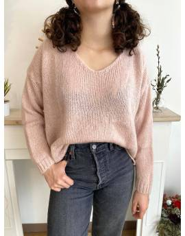 Pull mohair rose poudré