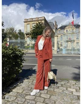 Pantalon de costume en velours côtelé rouille