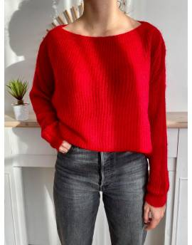 Pull mohair col bateau rouge